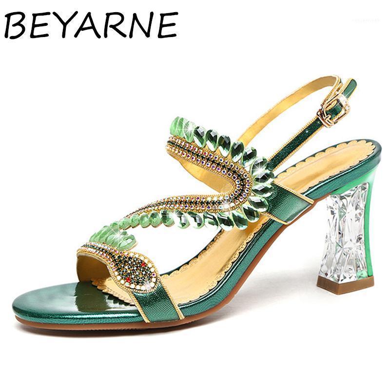 Beyarne Meilleure vente Summer Open Chaussures Femmes Sandales de mode2020Nouveau Classic Strass Sandales Sandales Été High Heel Sandals Big Taille 1