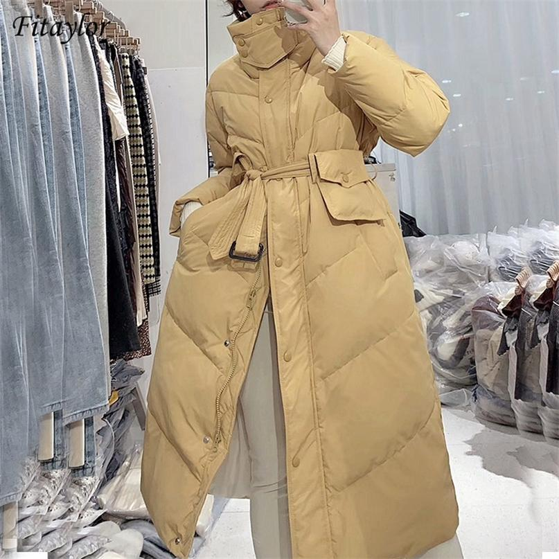 Fitaylor Kış Standı Yaka Uzun Puffer Ceket Kadınlar 90% Beyaz Ördek Aşağı Ceket Rahat Gevşek Kalın Parkas Kemer Sıcak Kar Dış Giyim 201214