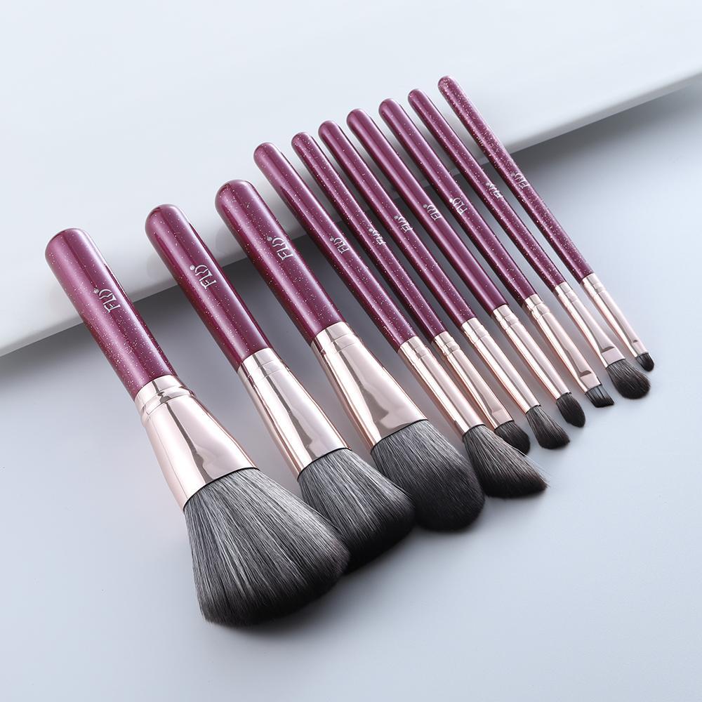 PerfectionsFLD 10 шт. Блеск фиолетовый макияж кисти набор фундамент тени для глаз брови подсвечивание Concealer кисть комплект супер мягкие натуральные волосы