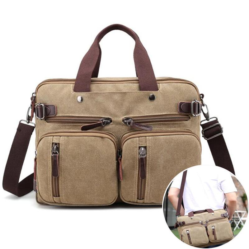 Men Canvas Bag Leather Briefcase Travel Suitcase Messenger Shoulder Tote Back Handbag Large Casual Business Laptop Pocket Q0112