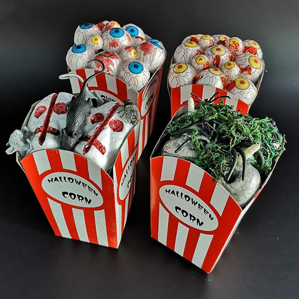 1 PZ Halloween Popcorn Box Eyeball Mouse Spider Horror Popcorn Box Pop per Bar Ghost House Decoration Party Festive Party Sott