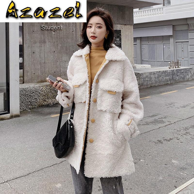 Реальный мех 100% шерстяная куртка корейские овцы овцы осень зима пальто одежда 2021 женские топы abrigo mujer b19f36063