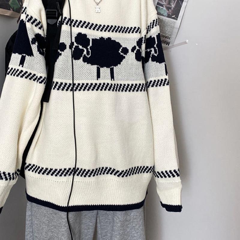 Camisola de suéter masculina 2021 primavera e inverno jacquard em torno do pescoço pulôver casal solto casual jovem roupas