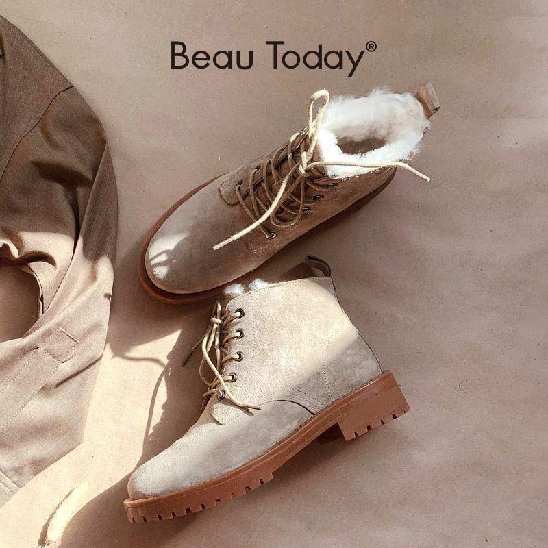 Beokoday шерсть снежные сапоги женщины натуральная кожа круглый носок на шнуровке платформы зимние дамы лодыжки длиной туфли ручной работы 03281 Q1124