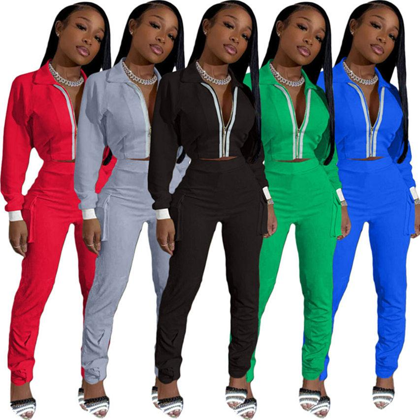Femmes Pocket Jacket Leggings Chevaliers S-2XL Solid Color Tracksuits Chute Hiver Hoodies Pantalons SweatSuits Casual Sportswear 3988