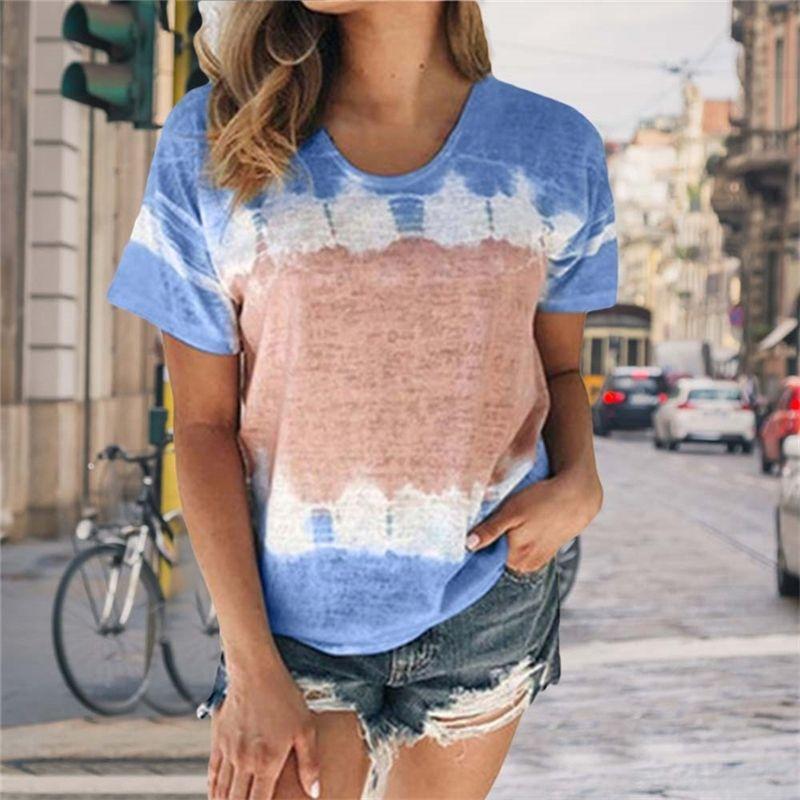 Tie-Dye-T-Shirt Frauen Kurzarm Sommer Tops T-Shirt T-Shirt-T-Shirt Frauen-Kleidung Lose Casual-Krawatte Färben T-shirt T200516