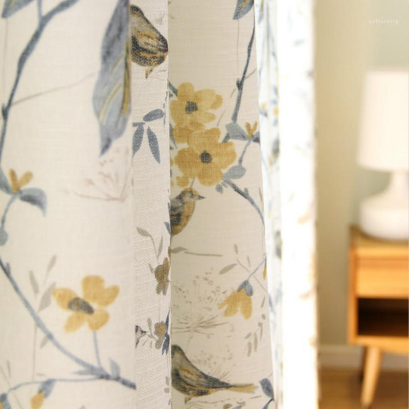 American Rural Cotton Linen Blackout Curtain For Living Room Bird Print Window Screen Bedroom Curtain Fabric Drapes1