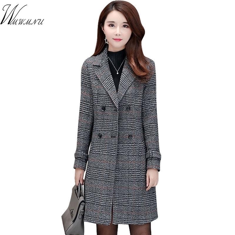 Moda Cálidas Lanas Mezclas Femenino Elegante Double Breasted Woolen Coat Women Plaid Largo Outerwear Winter Ropa 201103