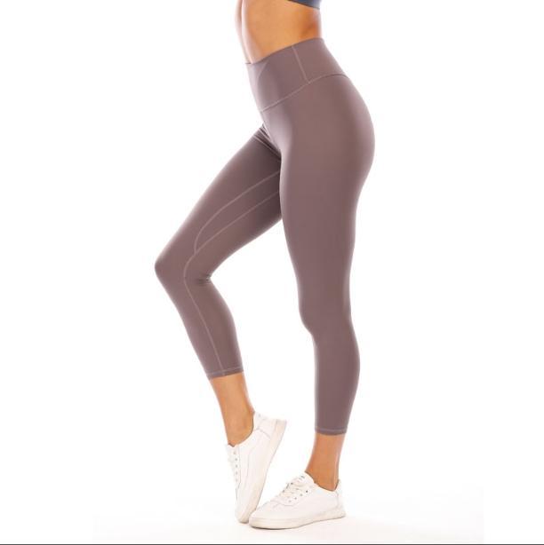 Lants de Yoga pour femmes Gym hautement élastique Lu Flexible Tissu Leggings légers Nu Sensation de Yoga Pantalon de Yoga Port de Fitness Weary Bran 2020 #