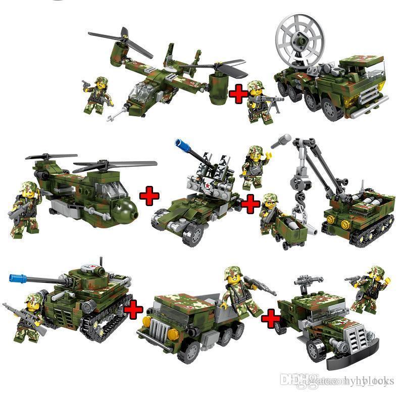 8In1 Militar Combat Troops Fighter Tank Army Blindored Coche Bloques de construcción Conjuntos DIY Ladrillos Helicóptero Modelo Educación Niños Juguetes 04