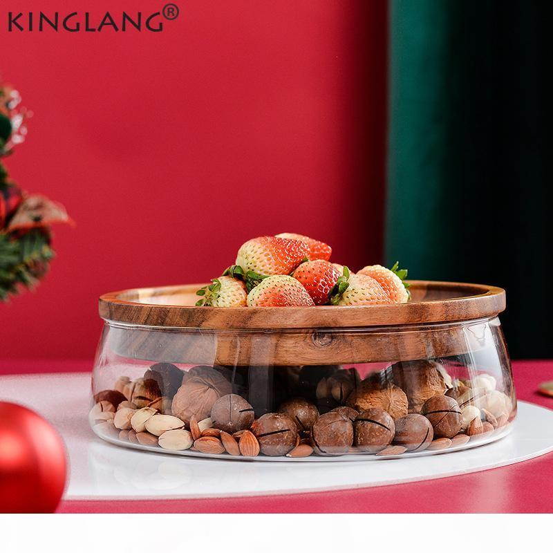 Kinglang usine directe vente nouvelle année snack box créatif double verre fruit séché à écrou de noix acacia boîte de stockage de bonbons en bois