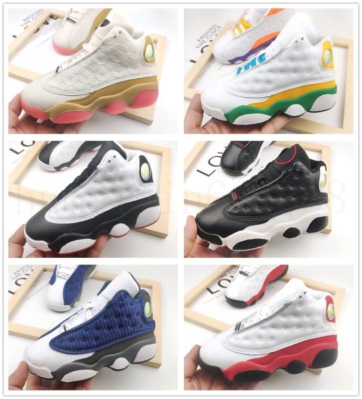 Bebek Jumpman 13 Çocuk Basketbol Ayakkabı Gençlik Çocuk Atletik 13 S Çocuk Kızlar Için Spor Ayakkabı Ayakkabı Ayakkabı Beyaz Siyah Boyutu 22-35