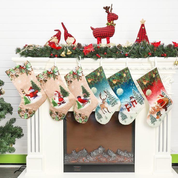 Bas de Noël Santa Snowman Noël Suspending Bas de Noël Bas Candy Sacs-cadeaux de Noël Chaussettes de Noël Décoration en gros