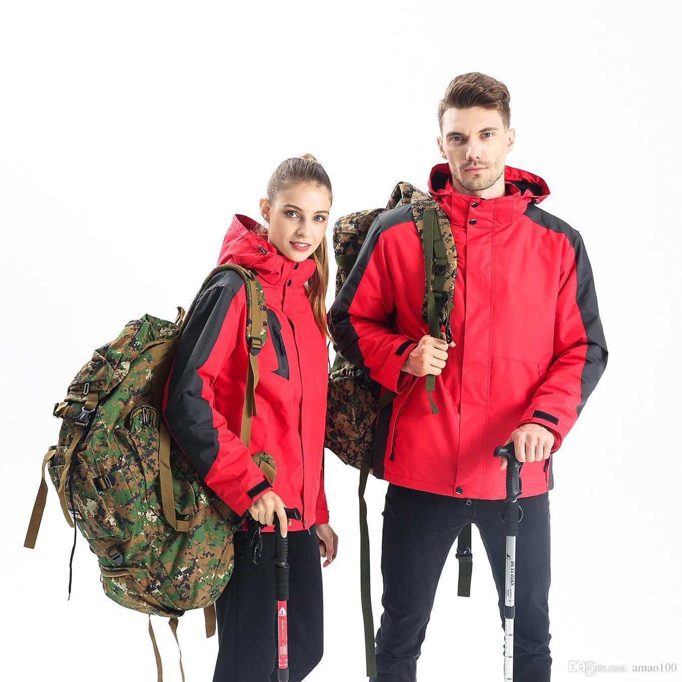 2020 Beste Winter Outdoor Jackets Benutzerdefinierte Logo Zwei Teil Winddicht plus Samt Warme Drei-in-One-Arbeitskleidung Custom-Druck