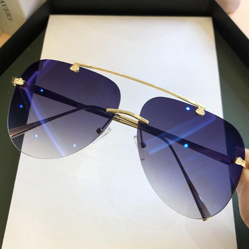 2020 Sunglasses For Metal Female Rimless Alloy Men Brown Gradient Brand Sun Glasses Vintage Pilot Oval Shades Black Aviation Ldxlv