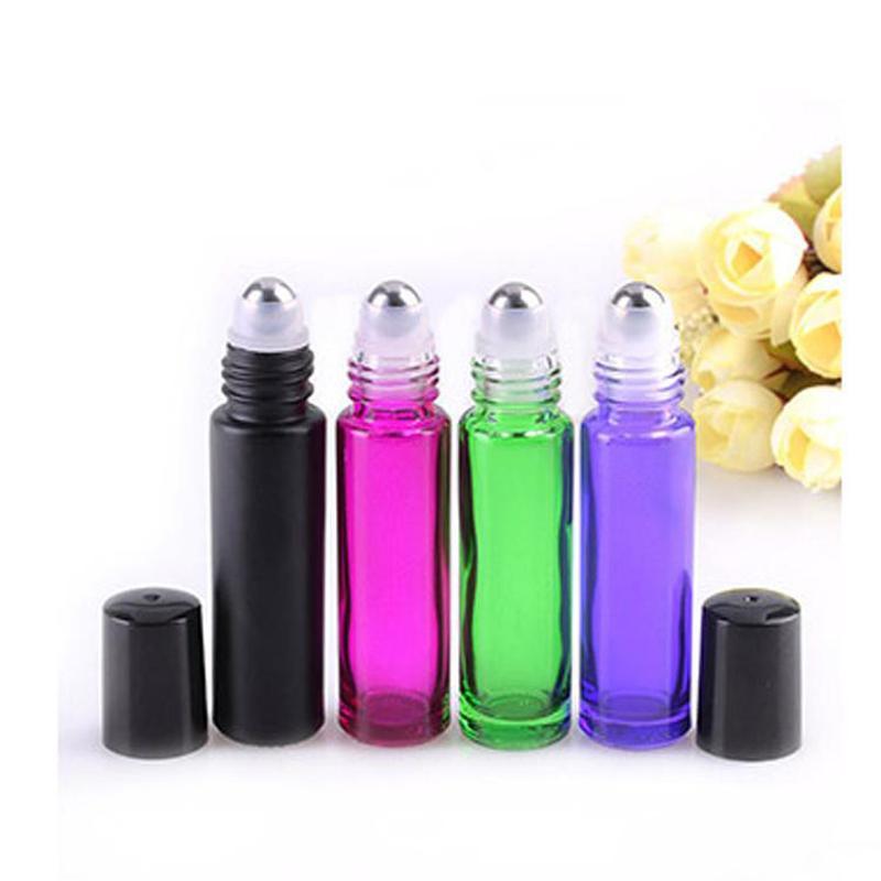 Ücretsiz kargo Renkli 10 ml cam rulo üzerinde uçucu yağlar parfüm şişeleri mini rulo şişeleri metal roller top ile 10cc