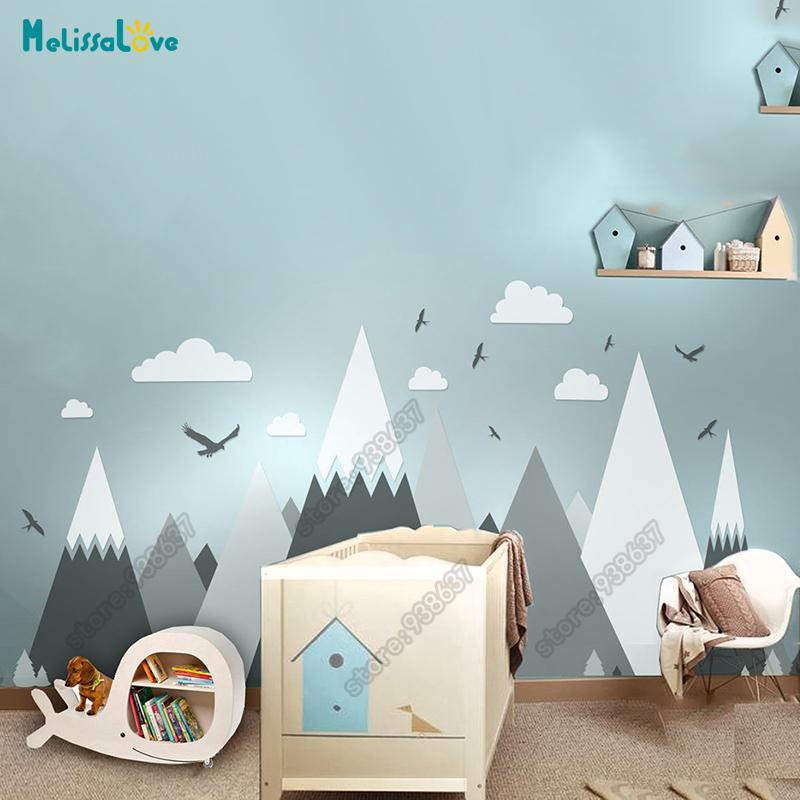 Big Baby Room Decal Avventura Avventura Tema Decor Enorme Montagna Cloud Bird Bird Nursery Kid Room Rimovibile Vinyl Wall Sticker JW373 201207