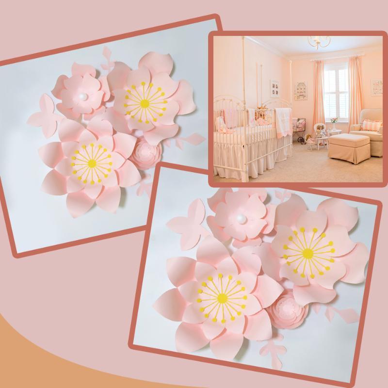 اليدوية الطفل الوردي روز diy ورقة الزهور يترك مجموعة للحزب الزفاف الخلفيات الحضانة جدار ديكو الفتيات غرفة دروس الفيديو