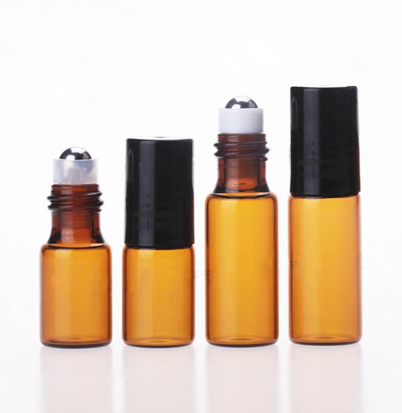 1 ml 2 ml 3 ml 5 ml Amber Rulo Şişeleri Mini Rulo Temel Yağlar için Cam Şişe Doldurulabilir Parfüm Şişesi Satılık