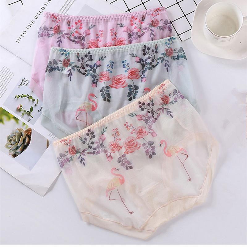 3PCS / 많은 새로운 씬 친한 여자 속옷 플라밍고 인쇄 플러스 사이즈 5XL 섹시한 란제리 메쉬 투명 여자의 팬티 세트