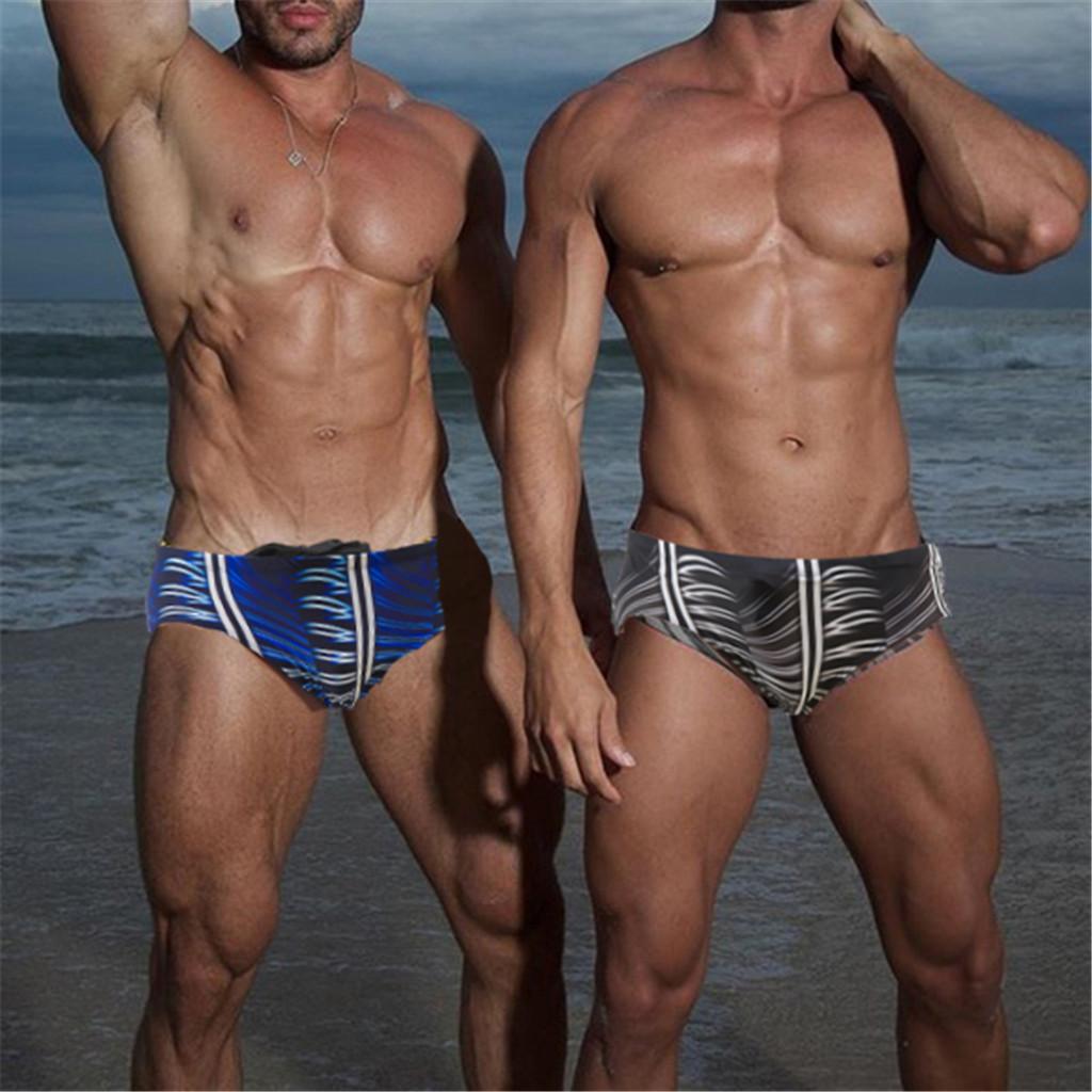 Summer Fashion Men Boxer Swimming Trunks Sexy Bodybuild Gradient Beach Swimming Shorts Diving Surfing Swimwear Beachwear 2021