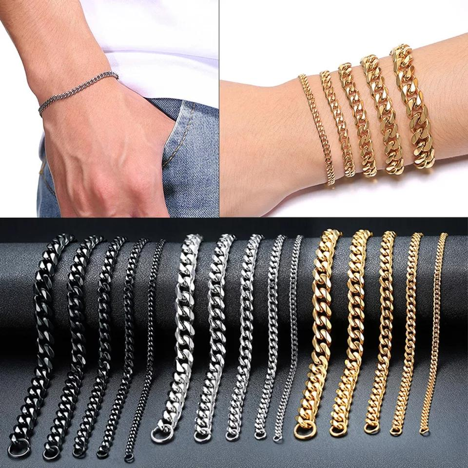 3mm-11mm Mens 14K Gold Plated Bracelet Women Cuban Link Chains Stainless Steel Curb Bracelets Gold Silver Black Color Wrist Bracelets Gift