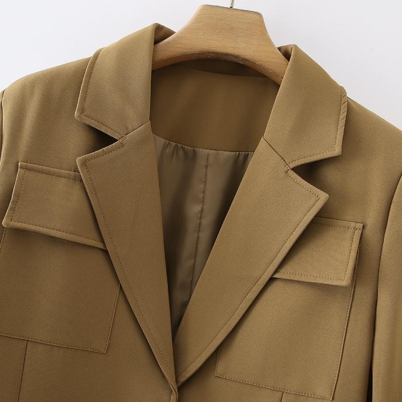 Chaqueta otoño nueva ropa 2021 oficina de mujeres y primavera mujer bolsillo decoración tops traje estilo moda dama Oekgr