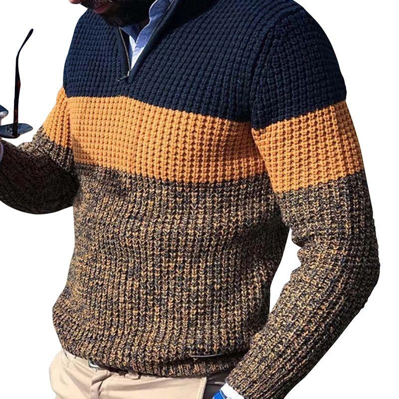 Kancool cor bloco homens malha camisola outono inverno quente pulôver jumper plus size manga comprida casual manga homem knitwear