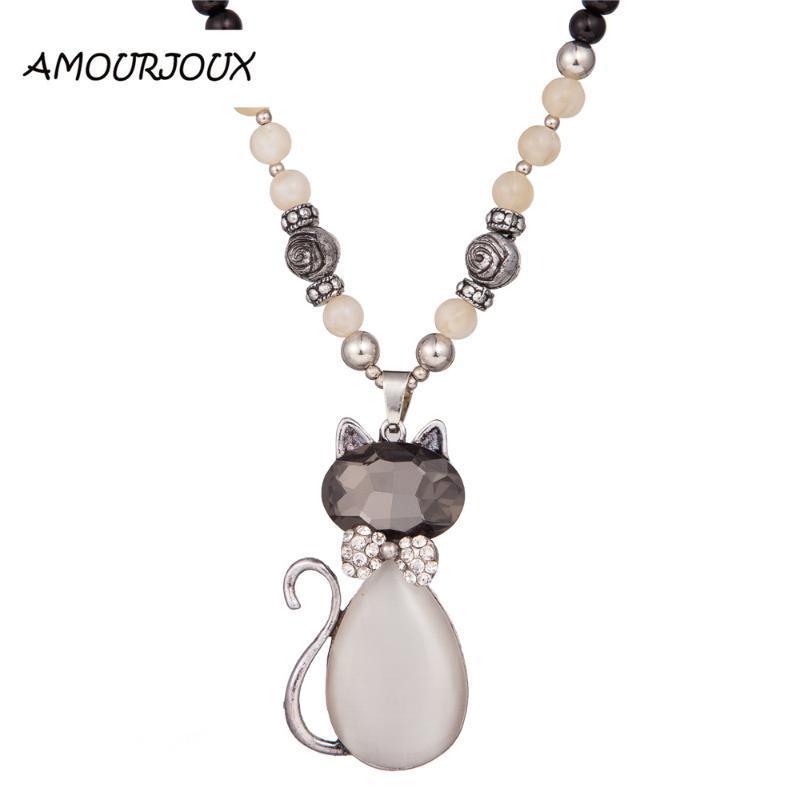 Pendentif Colliers Mode Bijoux Mignon Cat Cat Crystal Autrichien Collier pour femme Miss Pendants er009