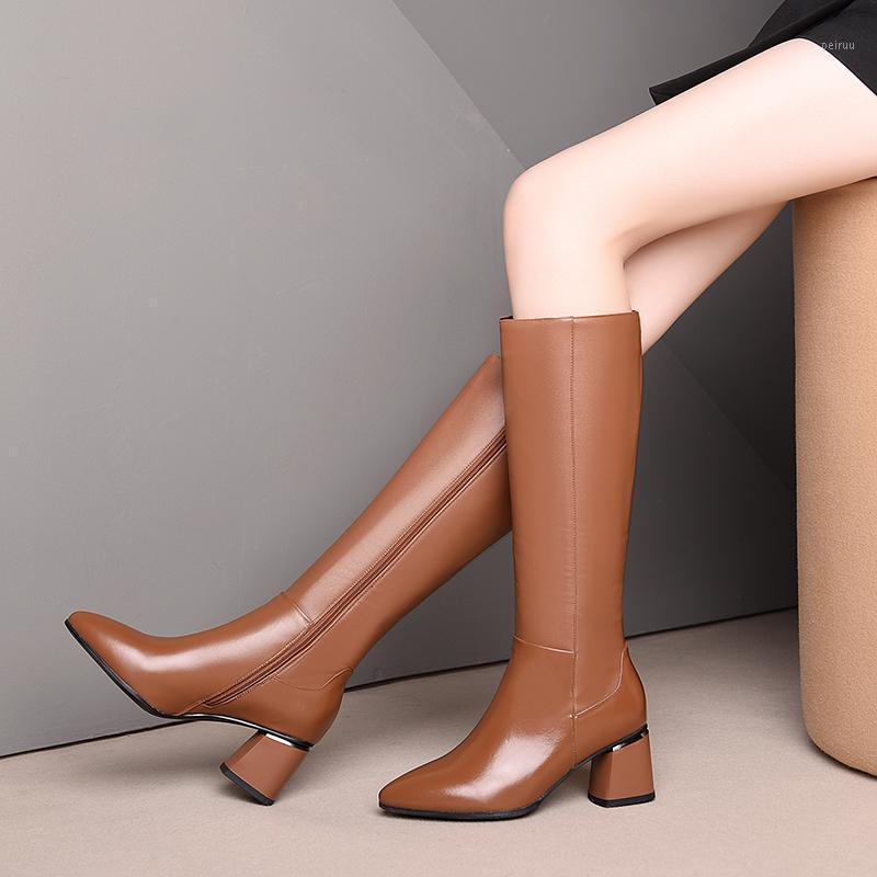 Cuir véritable talons hauts bottes hautes bottes hautes bottes hautes bottes latérales pointues orte d'automne hiver fête fête bureau dame épais talons chaussures femme1