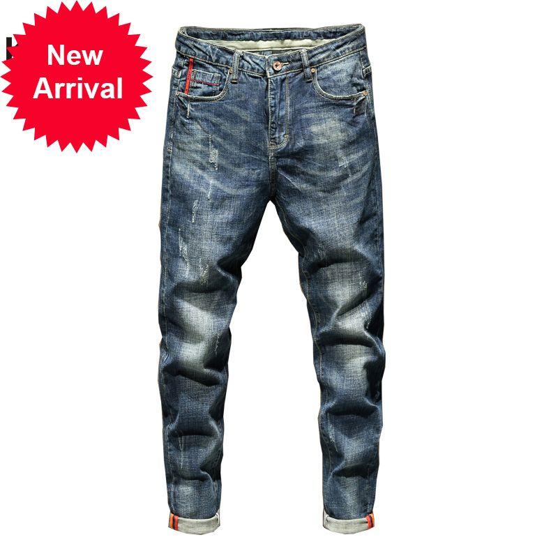 Kstun slim ajustement automne et hiver rétro bleu stretch poches de mode de mode désintination masculine masculine homme jeans marque 2019