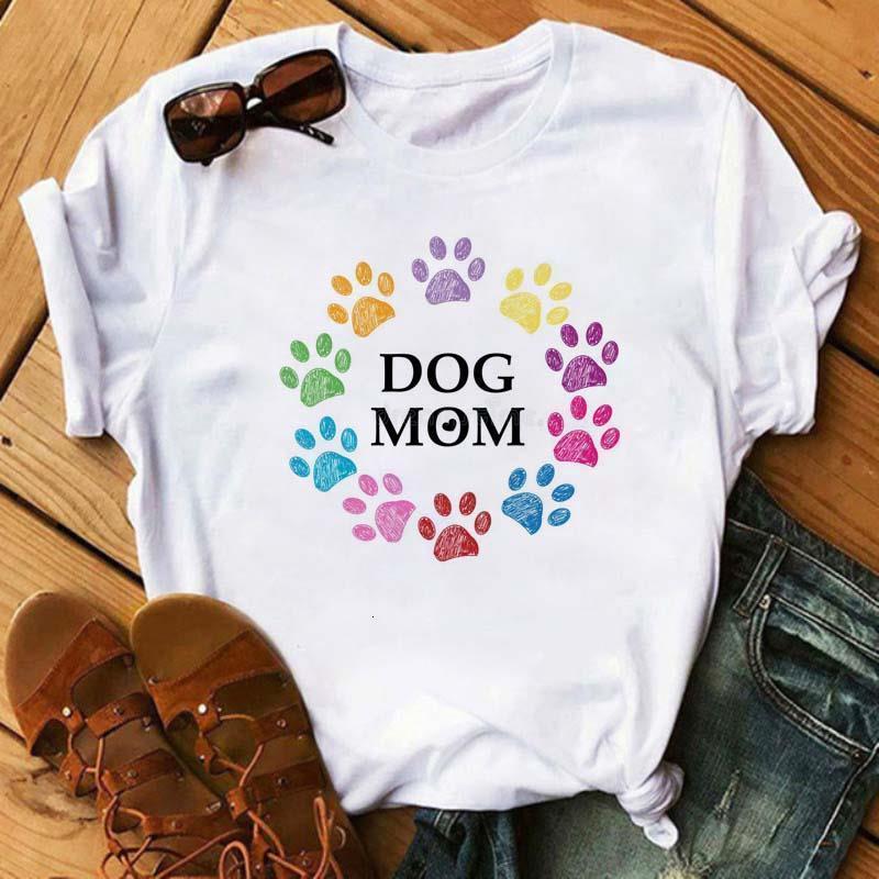 Женщины футболка собака мама лапы Kawaii цветочные печать рубашки женщины с коротким рукавом o шея свободная футболка леди причинно-следственная футболка