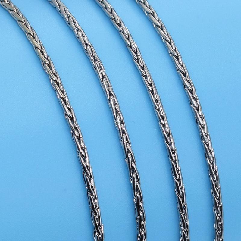 Vente en gros Bijoux Collier long 2MM chaîne de corde en acier inoxydable Collier en or blanc 18 pouces couleur pour les femmes hommes Nouveau