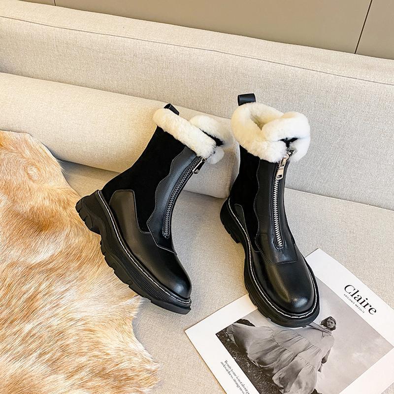 Hakiki Deri Kadın Kar Botları Kış Platformu Ayakkabı Kadınlar Için Ayak Bileği Çizmeler Kaymaz Tutun Sıcak Yün Kadın Sneakers