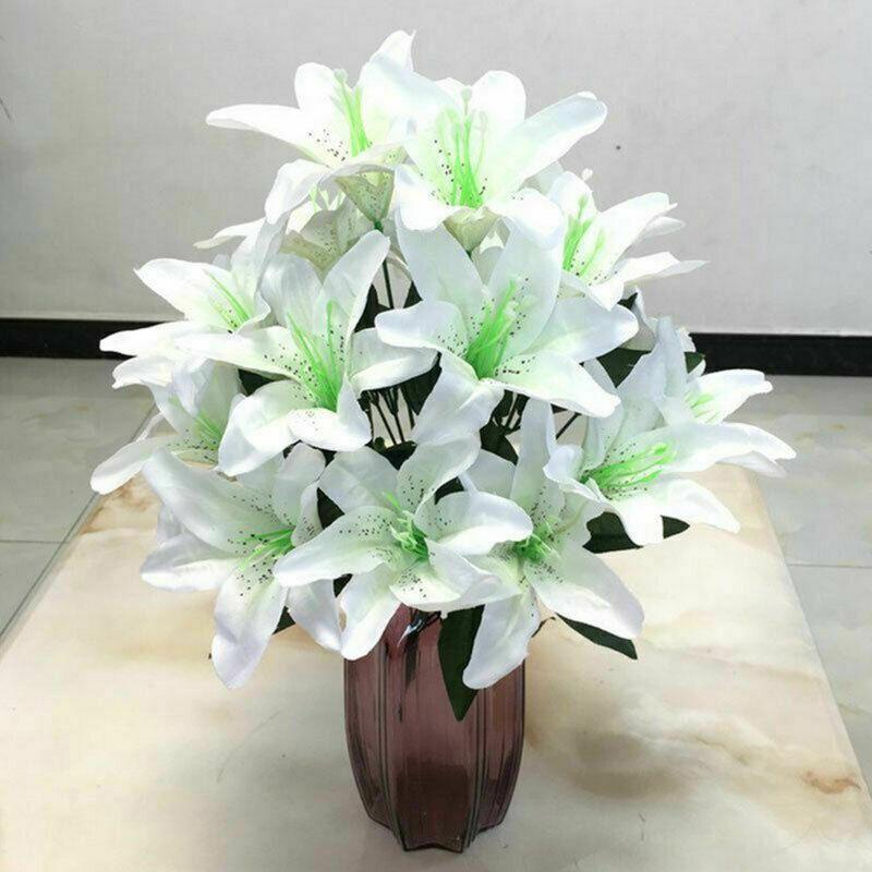 10 Köpfe Seide Parfüm Lilie Frisch Stil Schreibtisch Ornamente Künstliche Blumen Wohnkultur Hochzeit Romantische Requisiten