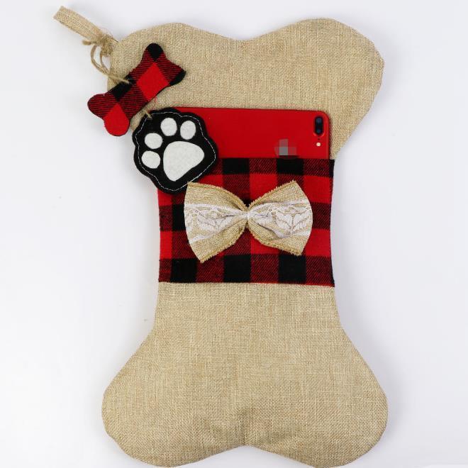 Christmas decorations Christmas socks gift bag dog paw Christmas socks lattice red 16.5*10.2inch 42cm