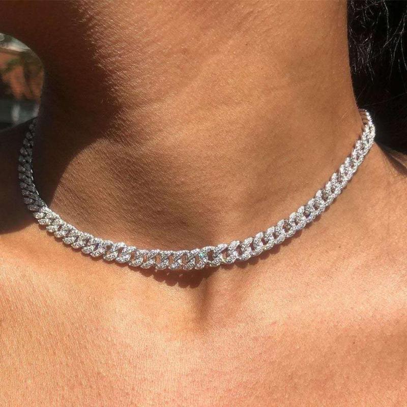 Iced Out Bling 8mm CZ Miami Cuba Link Change Change Collar para Mujeres Micro Pave CZ Cuban Gargantilla Mujer Joyería