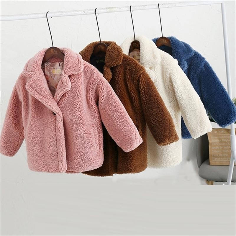 3-12-летний детский искусственный меховой вагурдное пальто ребенка плюшевый мишка сгущает теплый куртку девушки длинные пальто зима детская одежда повседневная вертикальная одежда 201216