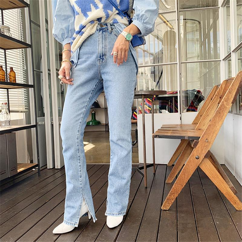 2021 Autumn Fashion Women High Waist Denim Jeans Straight Jeans Side Split Vintage Female Long Pants