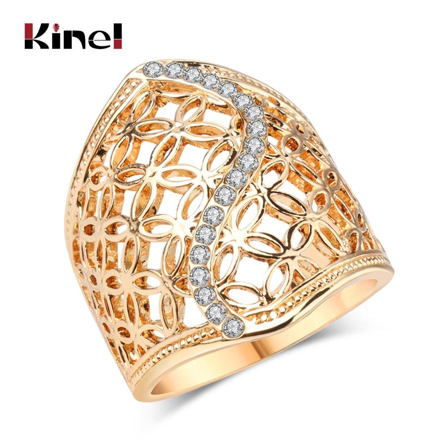 Free Shipping Fashion Hollow Big Ring For Women Gold Color Fine Jewelry Vintage Wedding Crystal Gift Hot