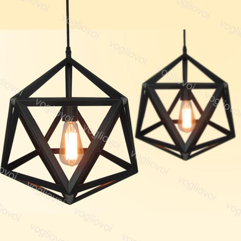 مصابيح قلادة علوي 1 متر شنقا 85-265 فولت E27 النمط الصناعي هندسية المعين هندسي متعدد الأوجه داخلي لغرفة الطعام مطعم مقهى بار دي إتش إل