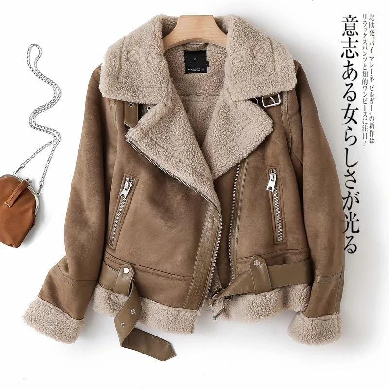 Женская куртка винтажной утолщенной утолщенной кожи с кожей лямбвульса-байкер женское горячее зимнее пальто или топы женская одежда для женщин