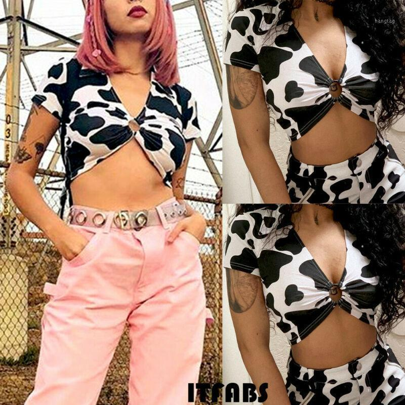 2020 New Hot Sale Women Turn-down Deep V-neck Low-cut Casual Tops Short Sleeve Cow Pattern Top Party T-shirt1