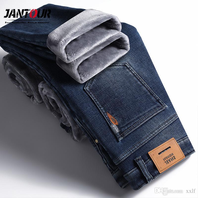 Jantour Jeans Herren Winter Fleece Verdicken Hose 2020 Business Casual Pantalones de Hombre Elastizität Gerade blaue Arbeit Hosen