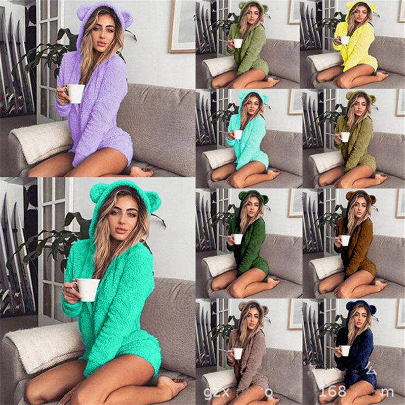 Kış Kadın Tulumlar Yumuşak Polar Homewear Uzun Kollu Şort Pijama Sevimli Kapşonlu Tulum Onesies 17 Katı Renk Bayanlar Sıcak Tulum 5XL
