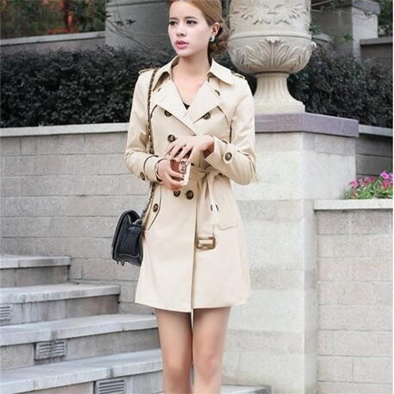 1 pc casaco de trench para mulheres Double Breasted Slim Fit Long Primavera Casaco Casaco Feminino Abrigos Mujer Outono Outerwear Windbreaker 201029