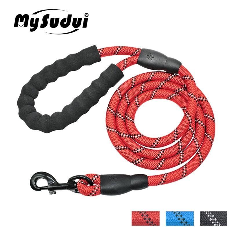 Mysudui réfléchissant chien de chien de laisse de chien de chien nylon bande de corde bande traction corde rouler lueur dans l'animal sombre plomb noir pitbull terrier lj201112