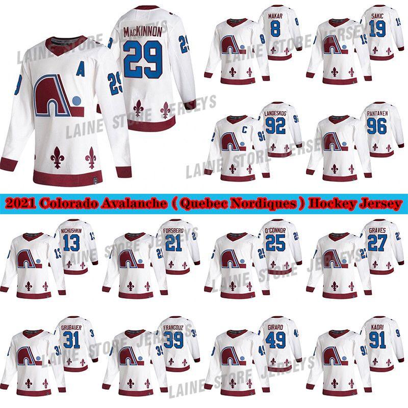 콜로라도 Avalanche Jersey 2020-21 Reverse Retro Quebec Nordiques 8 Cale Makar 29 Nathan Mackinnon 96 Rantanen 92 Landeskog Hockey Jerseys