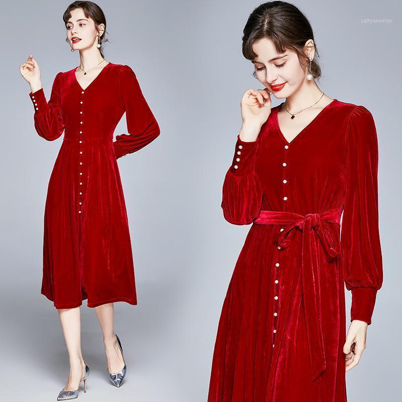 Урожай бархатное платье V-образным вырезом сексуальное платье женщин элегантный красный для осени теплый фонарик мягкие платья для женщин Solid1