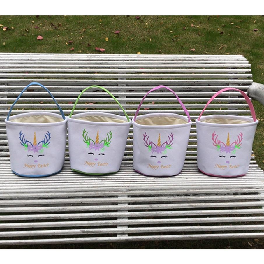 Ostern Glitter Einhornkorb Kids Ei Süßigkeiten Handtasche Barrel Eimer Bunny Taschen Plüsch Cartoon Leinwand Einkaufstasche B LLA129